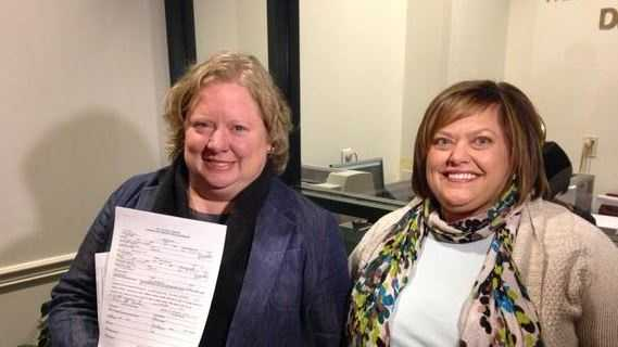 Charleston County councilwoman Colleen Condon and her fiance, Nichols Bleckley, were the first in line Wednesday morning to receive their marriage license.Copyright WCSC