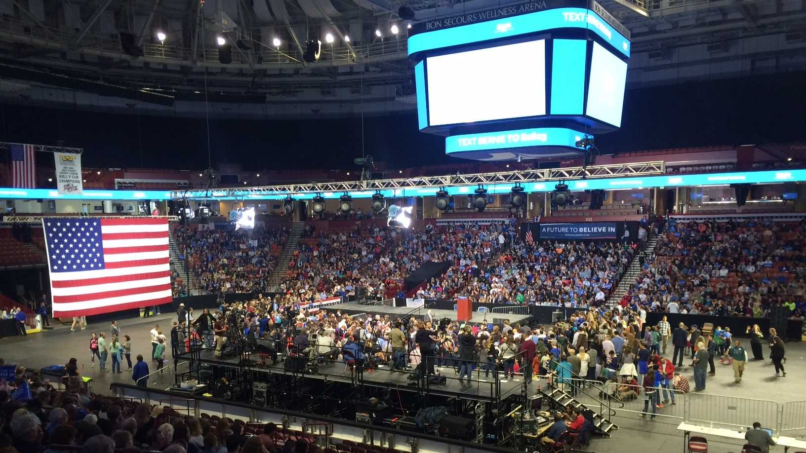 Thousands rally for Bernie Sanders at Bon Secours Wellness Arena