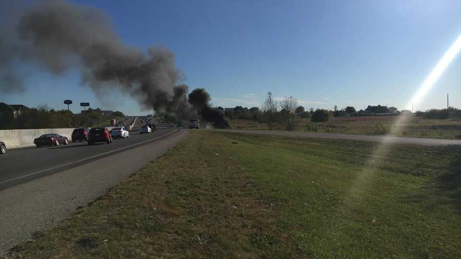 ​A pickup truck caught fire on I-49 SB near the Sunset Avenue exit in Springdale Monday afternoon.​