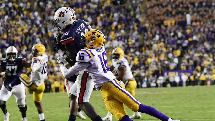 Seth Williams (18) catches a touchdown in the second half.