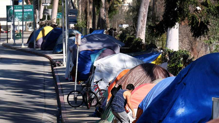 Tents from Los Angeles homeless encampment