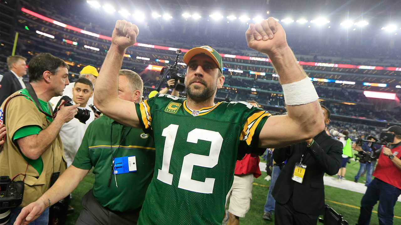 Green Bay Packers' Aaron Rodgers after an NFL divisional playoff football game against the Dallas Cowboys Sunday, Jan. 15, 2017, in Arlington, Texas. The Packers won 34-31.
