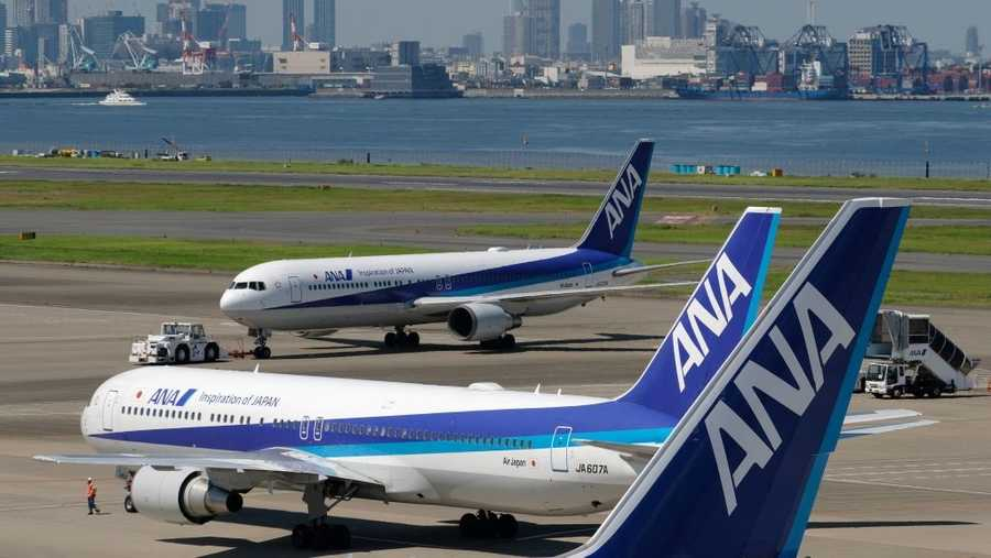 Passenger planes of All Nippon Airways are seen at Tokyo's Haneda airport on July 31, 2018.