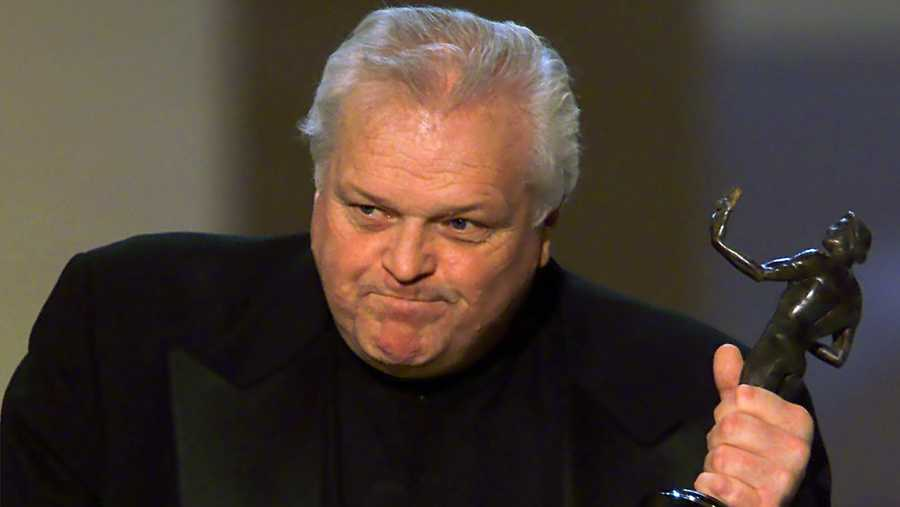 "Brian Dennehy accepts the award for outstanding performance by a male actor in a television movie or miniseries for his role in ""Arthur Miller's Death of a Salesman,"" at the 7th annual Screen Actors Guild Awards Sunday, March 11, 2001, in Los Angeles."