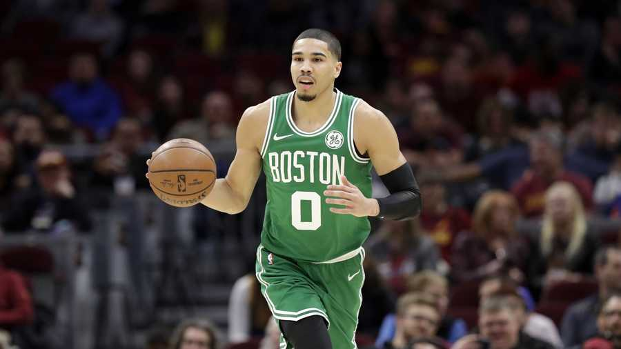 Boston Celtics' Jayson Tatum drives to the basket against the Cleveland Cavaliers in the first half of an NBA basketball game, Tuesday, Feb. 5, 2019, in Cleveland. (AP Photo/Tony Dejak)