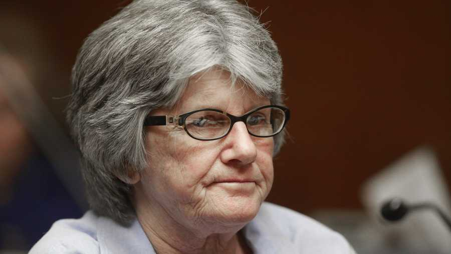 Former Manson family member and convicted murderer Patricia Krenwinkel listens to the ruling denying her parole, at a hearing at the California Institution for Women in Corona, Calif., Thursday, Jan. 20, 2011.