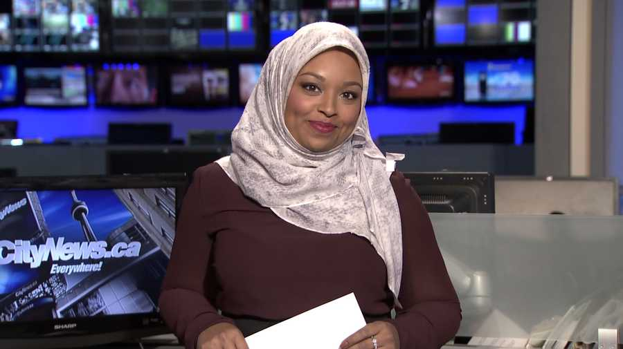 This image made from a video provided by CityNews shows Ginella Massa, a Toronto TV reporter who is believed to be Canada's first anchor to don a Muslim head scarf at one of the city's major news broadcasters. Massa, 29, said Friday, Nov. 25, 2016, that she became Canada's first hijab-wearing television news reporter in 2015 while reporting for CTV News in Kitchener, Ontario, a city west of Toronto. She moved back to Toronto, where she grew up, earlier this year to take a reporting job at CityNews.