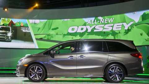 The new Honda Odyssey minivan is unveiled at the North American International Auto Show, Monday, Jan. 9, 2017, in Detroit.