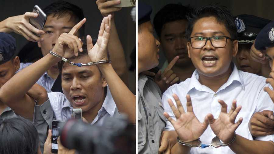 In this combination image made from two photos, Reuters journalists Kyaw Soe Oo, left, and  Wa Lone, are handcuffed as they are escorted by police out of the court Monday, Sept. 3, 2018, in Yangon, Myanmar. The court sentenced the two journalists to seven years in prison in September for illegal possession of official documents, a ruling that comes as international criticism mounts over the military's alleged human rights abuses against Rohingya Muslims.