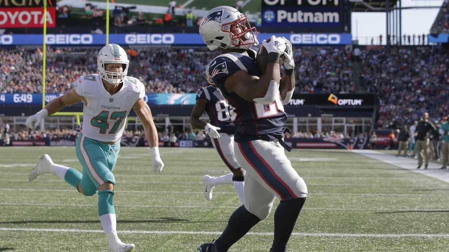 New England Patriots running back James White, right, catches a touchdown pass in the end zone in front of Miami Dolphins linebacker Kiko Alonso during the second half of an NFL football game, Sunday, Sept. 30, 2018, in Foxborough, Mass. (AP Photo/Steven Senne)