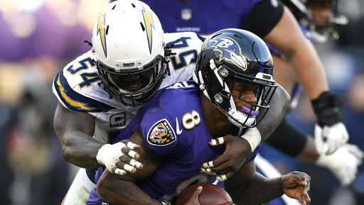 Los Angeles Chargers defensive end Melvin Ingram (54) sacks Baltimore Ravens quarterback Lamar Jackson in the second half of an NFL wild card playoff football game, Sunday, Jan. 6, 2019, in Baltimore.