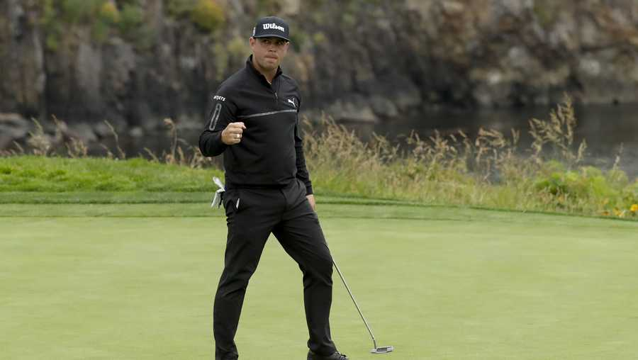 Gary Woodland reacts after making a birdie on the fifth hole during the second round of the U.S. Open golf tournament Friday, June 14, 2019, in Pebble Beach, Calif. (AP Photo/Matt York)