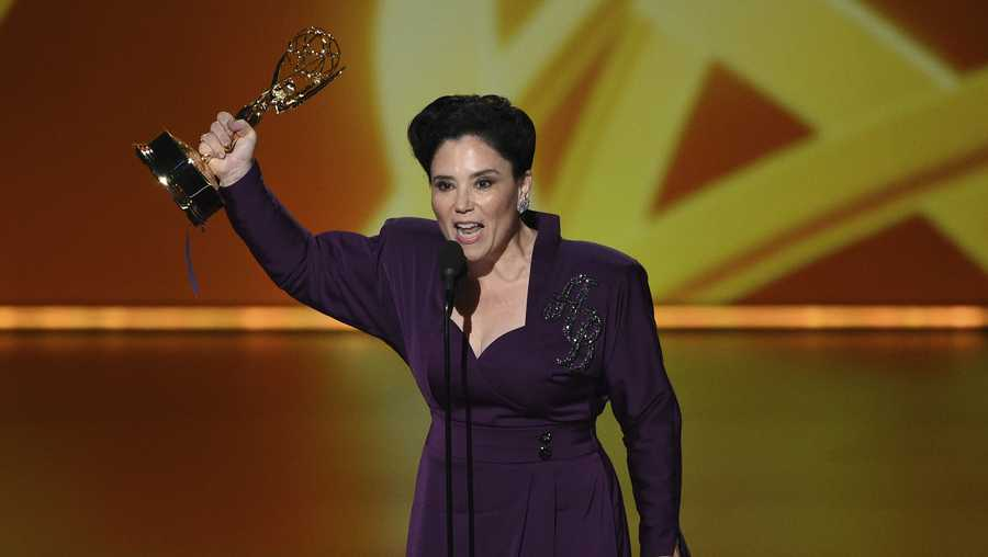 "Alex Borstein accepts the award for outstanding supporting actress in a comedy series for ""The Marvelous Mrs. Maisel"" at the 71st Primetime Emmy Awards on Sunday, Sept. 22, 2019, at the Microsoft Theater in Los Angeles. (Photo by Chris Pizzello/Invision/AP)"