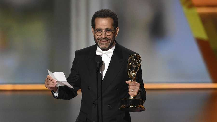 "Tony Shalhoub accepts the award for outstanding supporting actor in a comedy series for ""The Marvelous Mrs. Maisel"" at the 71st Primetime Emmy Awards on Sunday, Sept. 22, 2019, at the Microsoft Theater in Los Angeles. (Photo by Chris Pizzello/Invision/AP)"