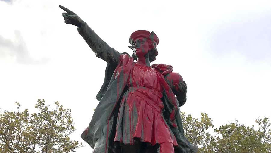 Red paint covers a statue of Christopher Columbus on Monday, Oct. 14, 2019, in Providence, R.I., after it was vandalized on the day named to honor him as one of the first Europeans to reach the New World. The statue has been the target of vandals on Columbus Day in the past.
