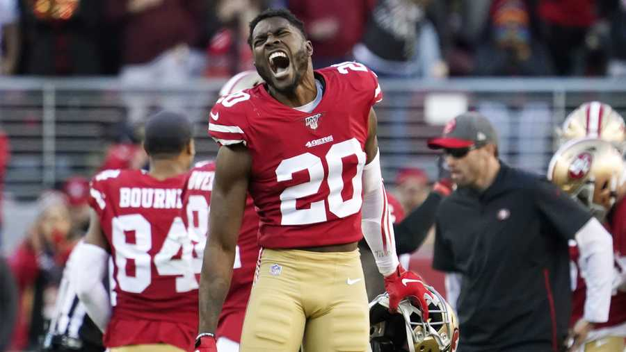 San Francisco 49ers free safety Jimmie Ward (20) celebrates during the second half of an NFL divisional playoff football game against the Minnesota Vikings, Saturday, Jan. 11, 2020, in Santa Clara, Calif.