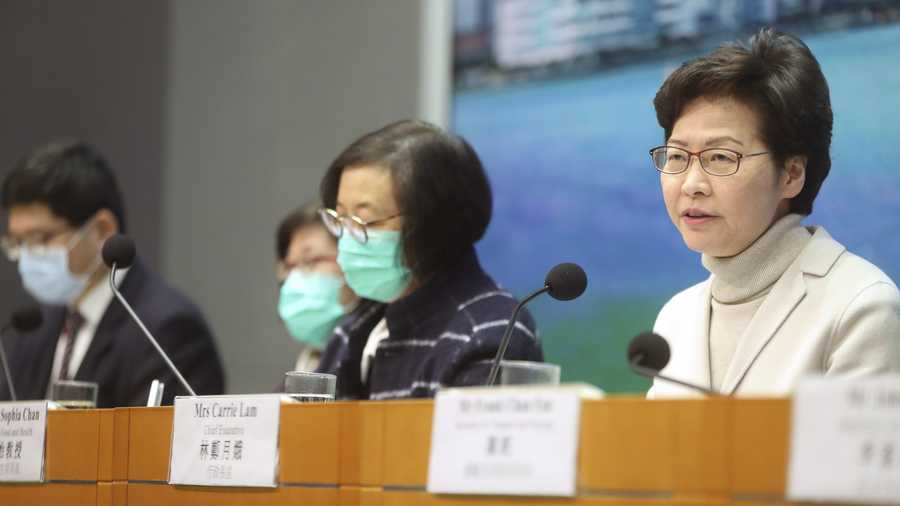 Hong Kong Chief Executive Carrie Lam speaks during a press conference held in Hong Kong, Monday, Feb 3, 2020. Lam says the city will shut almost all land and sea border control points to the mainland from midnight to stem the spread of the novel coronavirus from China.