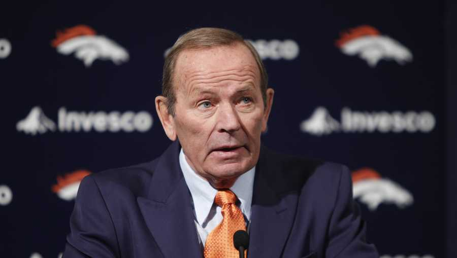 This Jan. 5, 2011 file photo shows Denver Broncos owner Pat Bowlen talking about Hall of Fame quarterback John Elway. The team announced Wednesday, July 23, 2014 that Bowlen will no longer be a part of the team's daily operations.