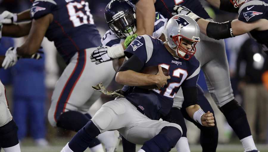 Tom Brady sacked against Seattle Seahawks