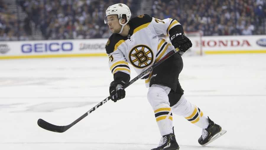 Boston Bruins' Charlie McAvoy plays against the Columbus Blue Jackets during Game 3 of an NHL hockey second-round playoff series Tuesday, April 30, 2019, in Columbus, Ohio. (AP Photo/Jay LaPrete)