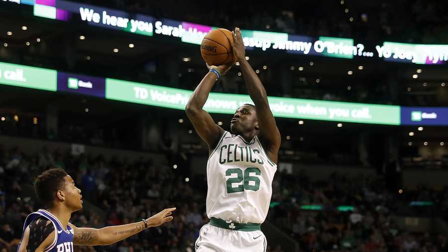 Boston Celtics guard Jabari Bird shoots during the second half of Boston's 113-96 win over the Philadelphia 76ers in a preseason NBA basketball game in Boston Monday, Oct. 9, 2017. (AP Photo/Winslow Townson)