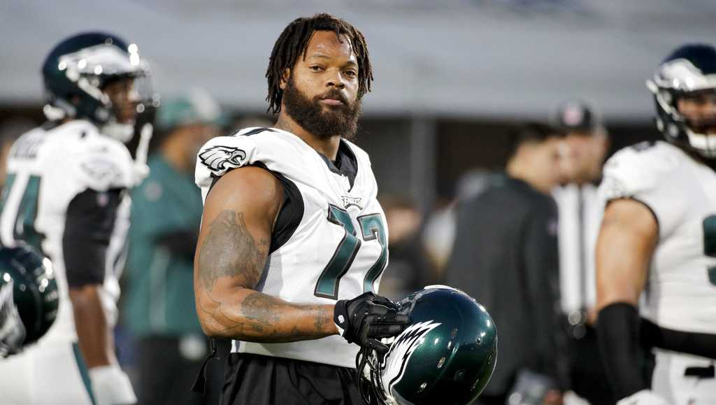 Philadelphia Eagles defensive end Michael Bennett warms up before an NFL football game against the Los Angeles Rams Sunday, Dec. 16, 2018, in Los Angeles.