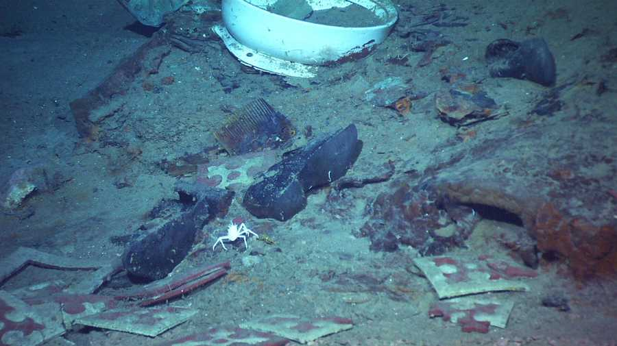 This 2004 image provided by the University of Rhode Island's Institute for Exploration and Center for Archaeological Oceanography and the National Oceanic and Atmospheric Administration's Office of Ocean Exploration shows the shoes of one of the possible victims of the Titanic disaster.