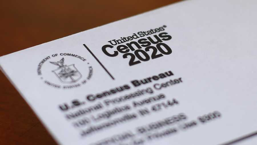 This photo shows an envelope containing a 2020 census letter mailed to a U.S. resident in Detroit.
