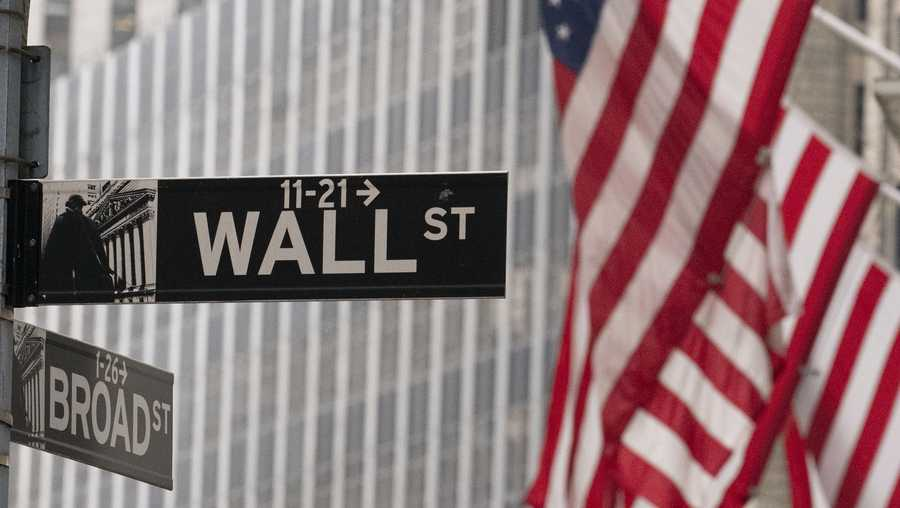 A street sign for Wall Street is seen outside the New York Stock Exchange, Thursday, Nov. 5, 2020.