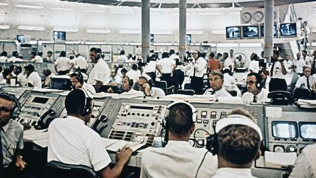 Mission control during Apollo 8 blastoff, Dec. 21, 1968.