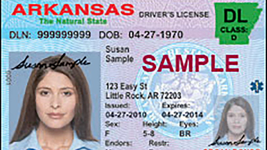 Sample Arkansas Driver's License