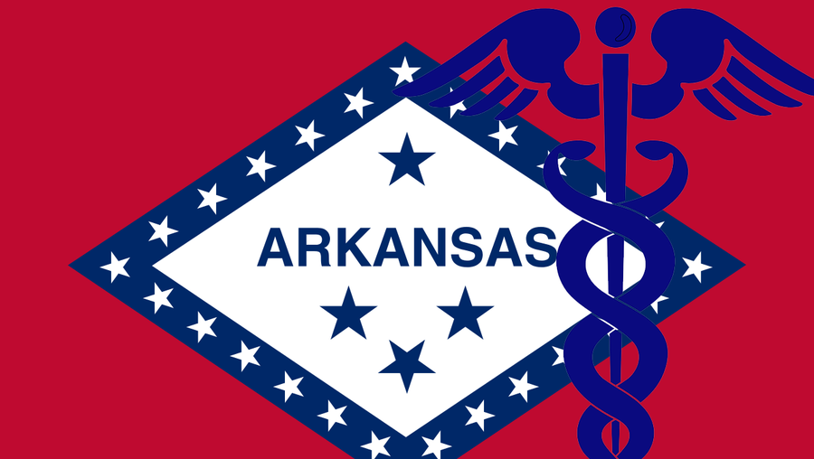 Image of the Arkansas flag with the caduceus symbol