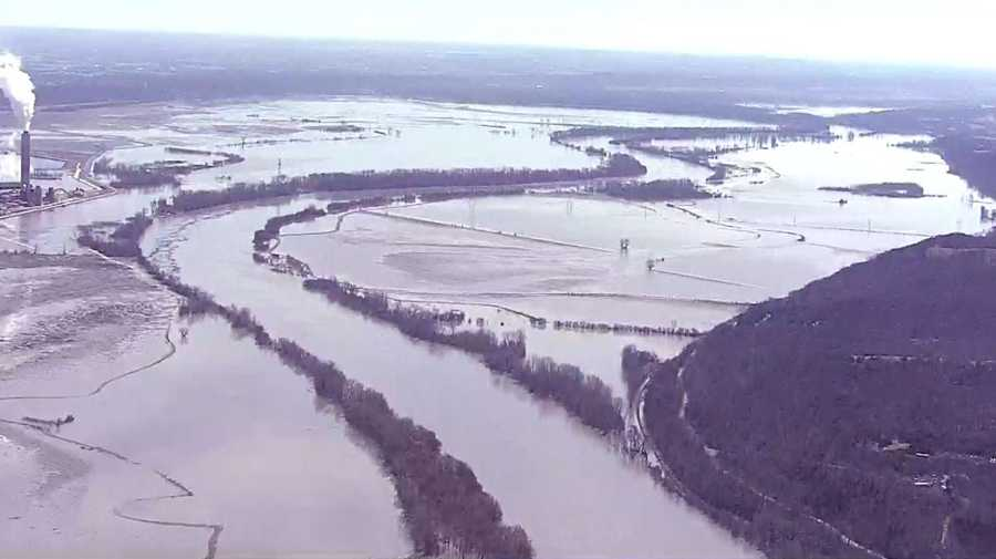 A view of Missouri River flooding in Platte County on March 22, 2019.