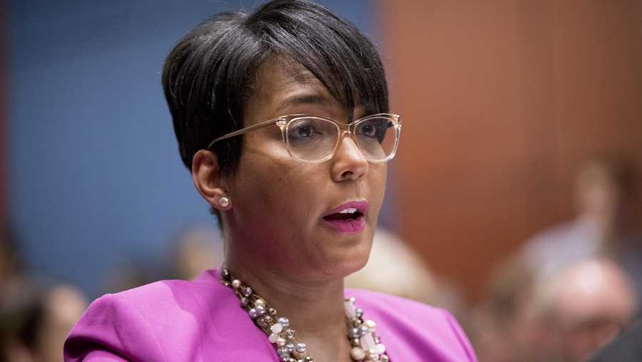 In this July 17, 2019, file photo, Atlanta Mayor Keisha Lance Bottoms speaks during a Senate Democrats' Special Committee on the Climate Crisis on Capitol Hill in Washington.