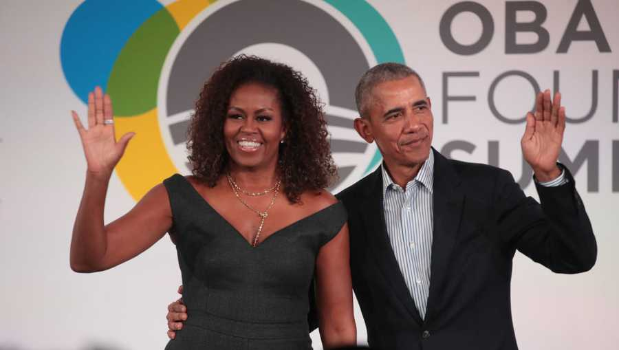 Former U.S. President Barack Obama and his wife Michelle close the Obama Foundation Summit together on the campus of the Illinois Institute of Technology on October 29, 2019, in Chicago.