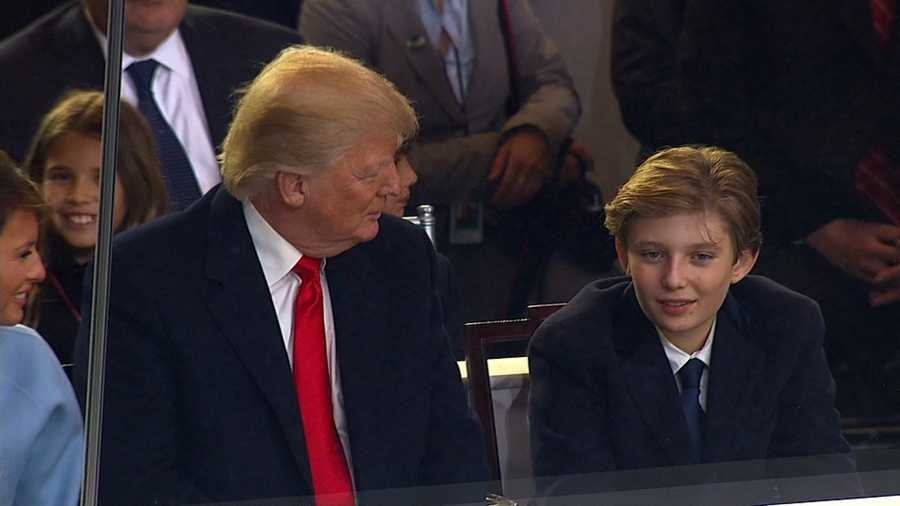 President Trump and his son Barron are shown in this file photo.