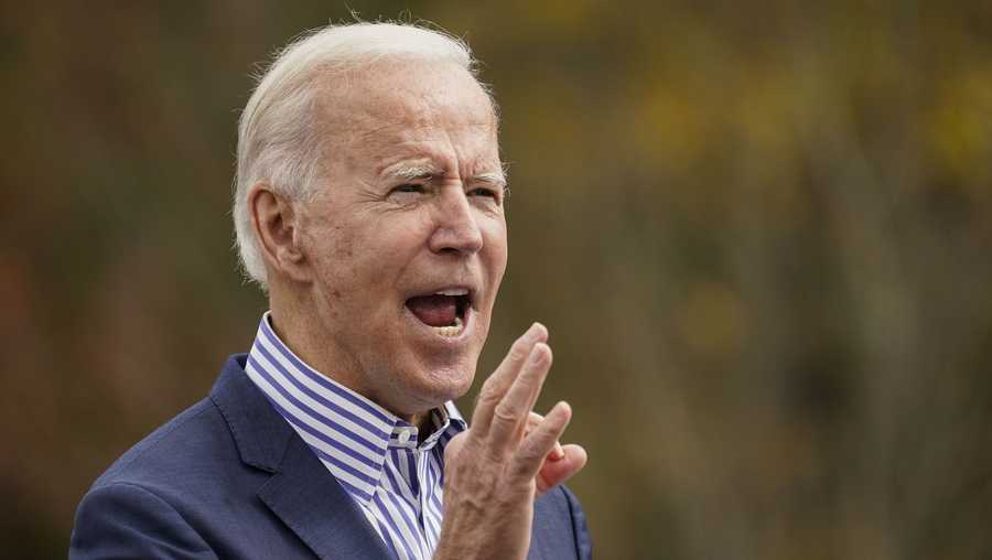 Democratic presidential nominee Joe Biden speaks during a drive-in campaign rally at Bucks County Community College on October 24, 2020 in Bristol, Pennsylvania.