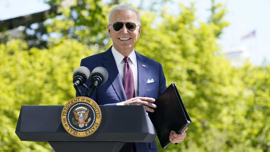 President Joe Biden responds to a question from reporters about COVID-19, on the North Lawn of the White House, Tuesday, April 27, 2021, in Washington.