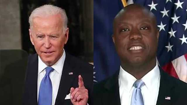 President Joe Biden (left) and South Carolina Sen. Tim Scott (right) deliver remarks during and after Biden's first address to Congress as president.
