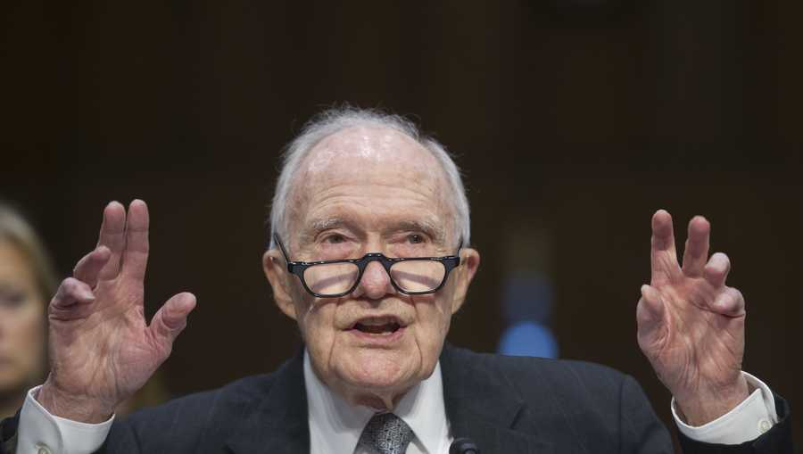 In this file photo, Former National Security Adviser Brent Scowcroft, president, The Scowcroft Group, testifies on Capitol Hill in Washington, Wednesday, Jan. 21, 2015, before the Senate Armed Services Committee's hearing to examine global challenges and US national security strategy.