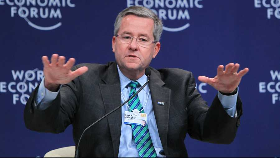 "Brian A. Gallagher, President and Chief Executive Officer of United Way Worldwide, attends the interactive session ""Mastering Complexity"" during the 2012 Tianjin Summer Davos at Meijiang Convention and Exhibition Center on Sept. 12, 2012 in Tianjin, China."