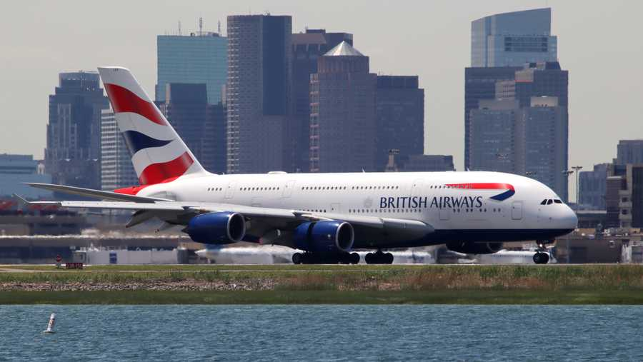 British Airways Airbus A380 arrives in Boston
