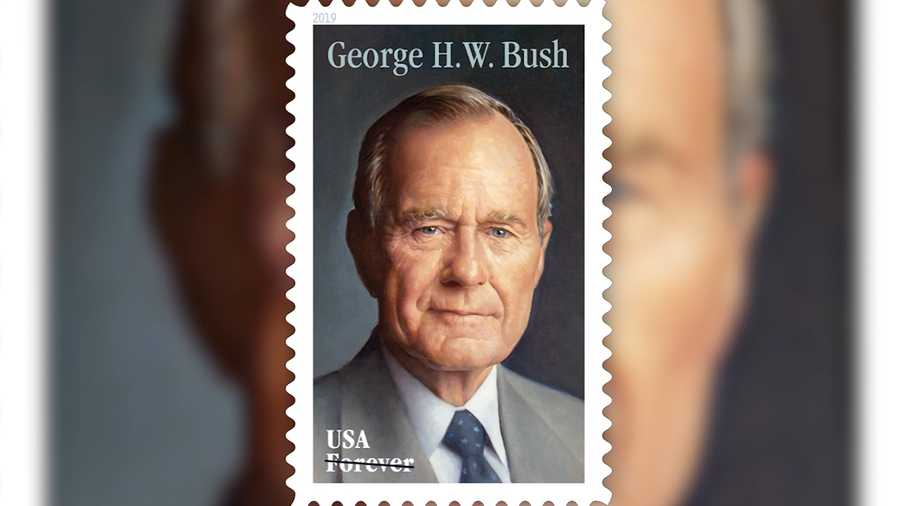 The U.S. Postal Service reveals new Forever stamp honoring the late President George H.W. Bush.