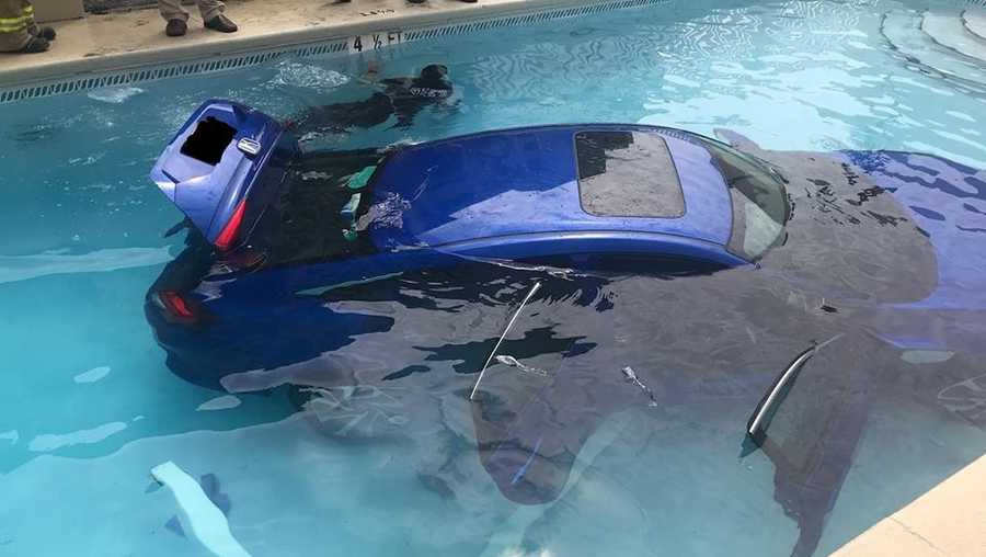 A vehicle found its way into a pool in western Florida.