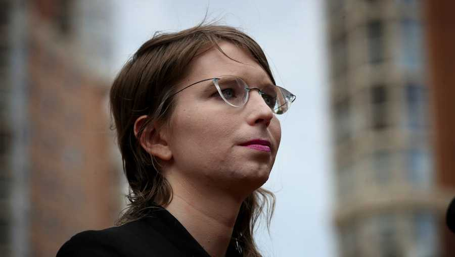 Former U.S. Army intelligence analyst Chelsea Manning addresses reporters before entering the Albert Bryan U.S federal courthouse May 16, 2019 in Alexandria, Virginia.