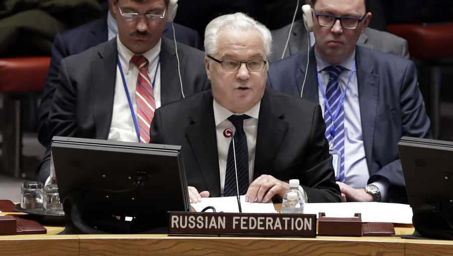 Russia's Ambassador to the U.N. Vitaly Churkin addresses a Security Council meeting at the United Nations, Thursday, Feb. 2, 2017.