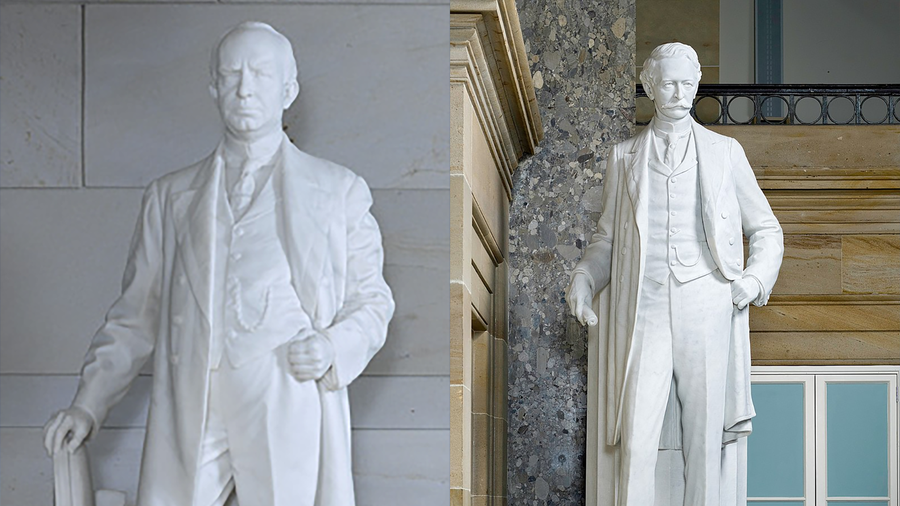 Statues of James Paul Clarke and Uriah Milton Rose at the U.S. Capitol