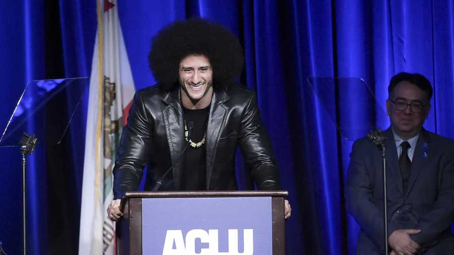 Colin Kaepernick attends the 2017 ACLU SoCal's Bill of Rights Dinner at the Beverly Wilshire Hotel on Sunday, Dec. 3, 2017, in Beverly Hills, Calif.
