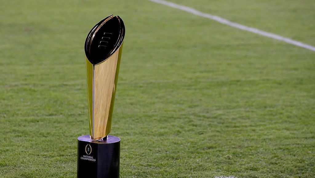 The College Football Playoff National Championship Trophy presented by Dr Pepper is seen prior to the 2017 College Football Playoff National Championship Game between the Alabama Crimson Tide and the Clemson Tigers at Raymond James Stadium on January 9, 2017 in Tampa, Florida.
