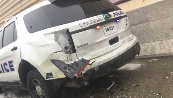 Cincinnati police cruiser hit